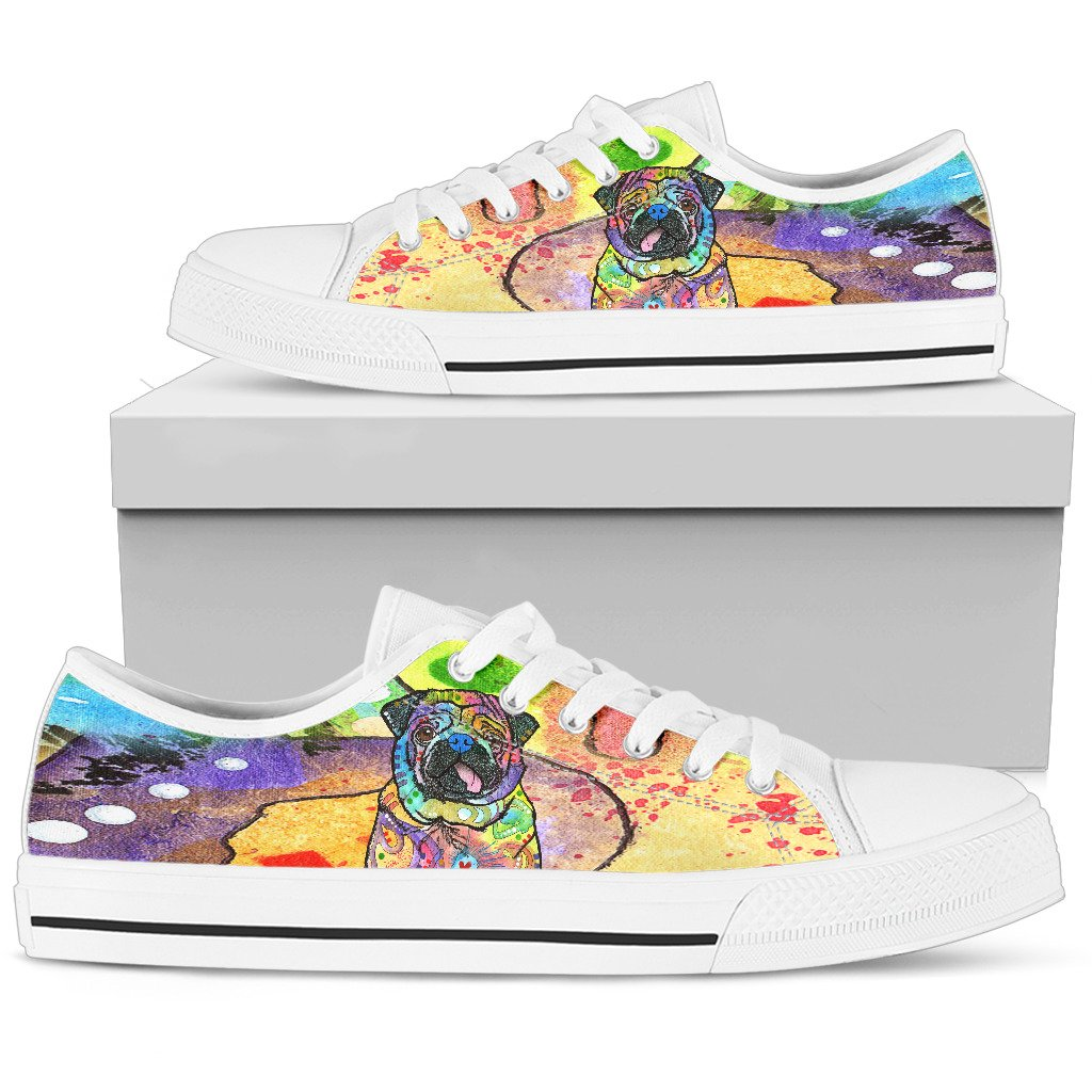 Pug Women's Low Top Canvas Shoes - Dean Russo Art