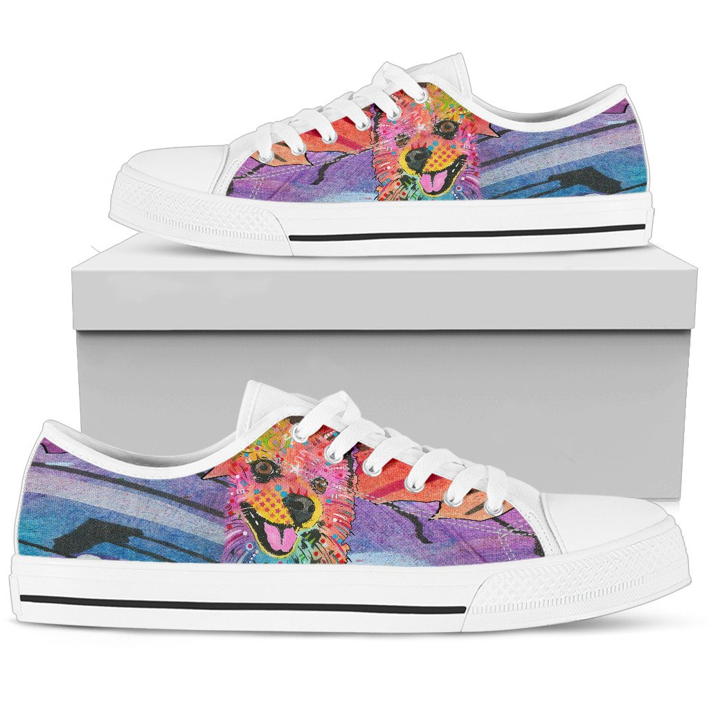 Pomeranian Women's Low Top Canvas Shoes - Dean Russo Art