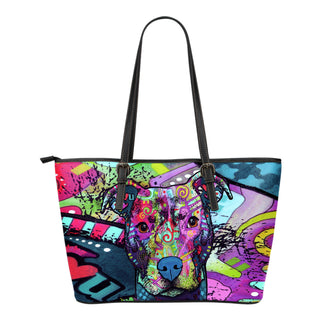 Pitbull Small Leather Tote Bags - Dean Russo Art