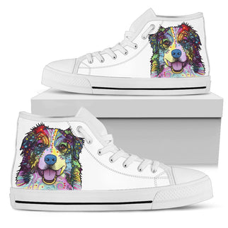 Australian Shepherd Women's High Top Canvas Shoes - Dean Russo Art - Jill 'n Jacks