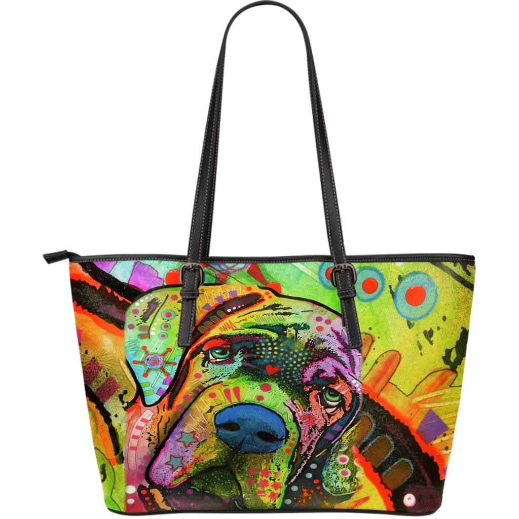 Mastiff Large Leather Tote Bag - Dean Russo Art