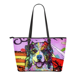 Australian Shepherd Small Leather Tote Bags - Dean Russo Art - Jill 'n Jacks