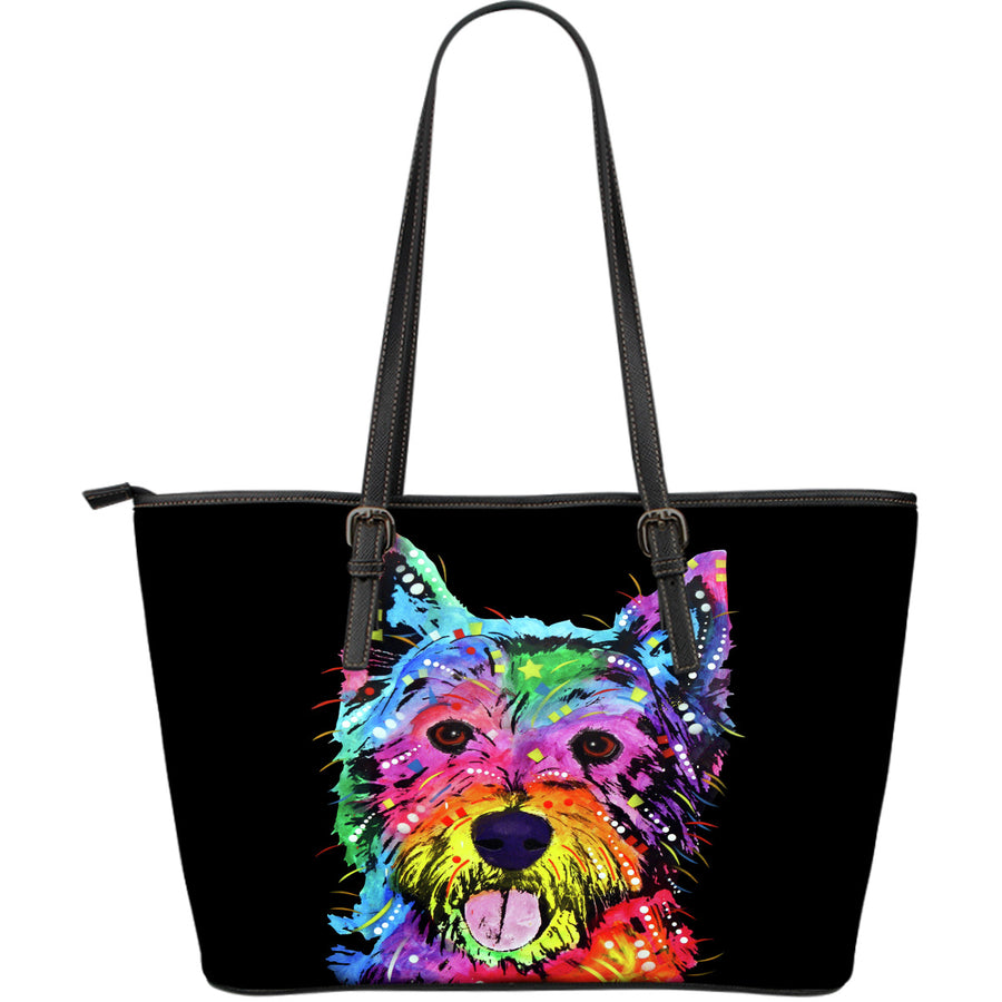 Westie Large Leather Tote Bag - Dean Russo Art - Jill 'n Jacks