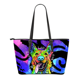 German Shepherd Small Leather Tote Bags - Dean Russo Art - Jill 'n Jacks