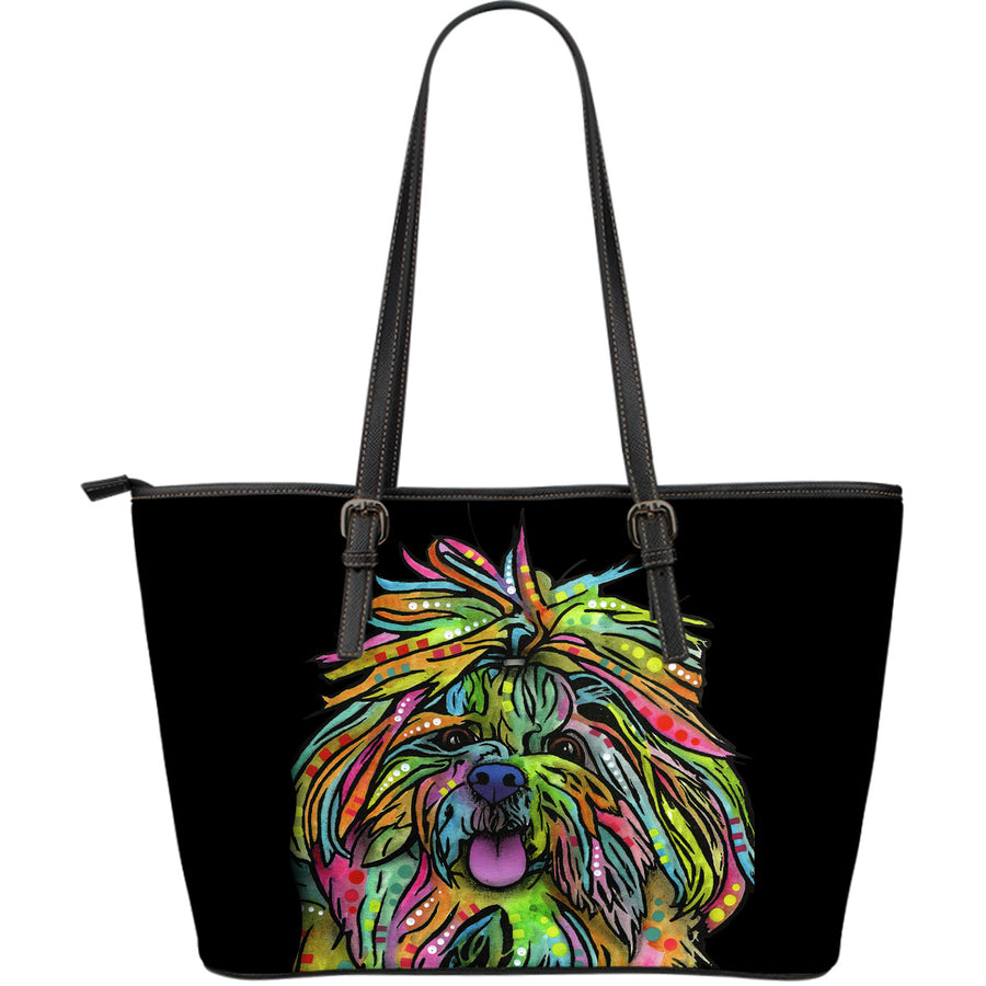Shih Tzu Large Leather Tote Bag - Dean Russo Art - Jill 'n Jacks