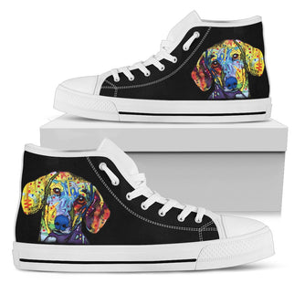 Dachshund Men's High Top Canvas Shoes - Dean Russo Art - Jill 'n Jacks