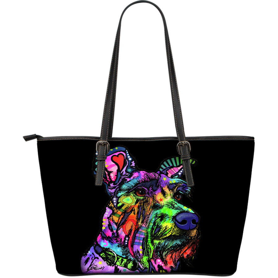 Schnauzer Large Leather Tote Bag - Dean Russo Art - Jill 'n Jacks