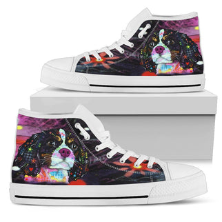 Cavalier King Charles Spaniel Women's High Top Canvas Shoes - Dean Russo Art - Jill 'n Jacks