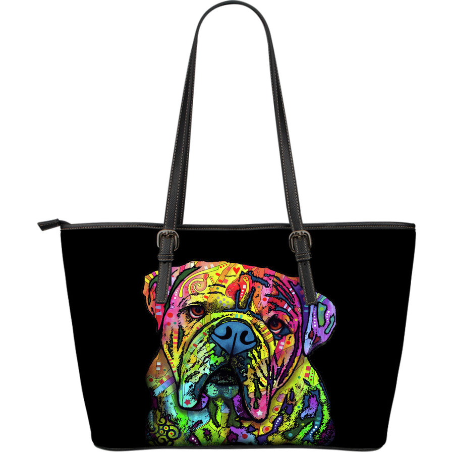 Bulldog Large Leather Tote Bag - Dean Russo Art - Jill 'n Jacks