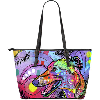 Greyhound Large Leather Tote Bag - Dean Russo Art - Jill 'n Jacks