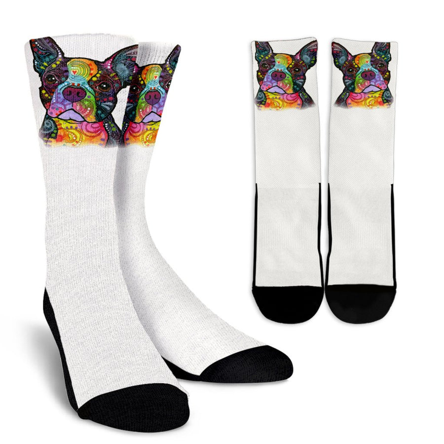 Boston Terrier Design Crew Socks - Dean Russo Art