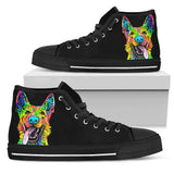 German Shepherd Women's High Top Canvas Shoes - Dean Russo Art - Jill 'n Jacks