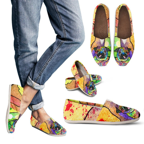 Pug Design Women's Casual Shoes- Dean Russo Art