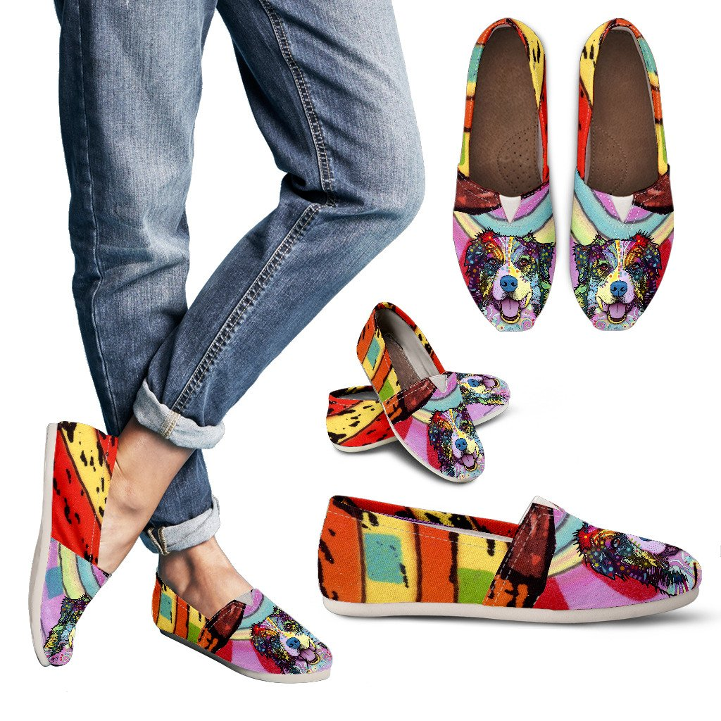 Australian Shepherd Design Women's Casual Shoes - Dean Russo Art