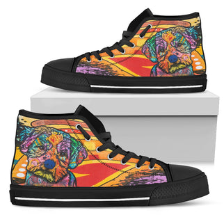 Maltese Men's High Top Canvas Shoes - Dean Russo Art