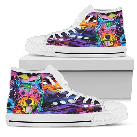Westie Women's High Top Canvas Shoes - Dean Russo Art