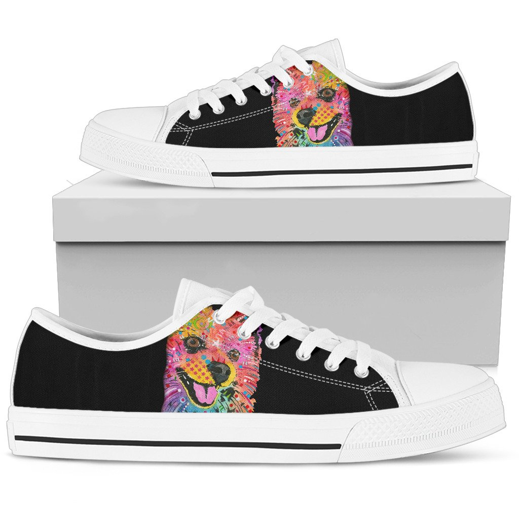 Pomeranian Men's Low Top Canvas Shoes - Dean Russo Art