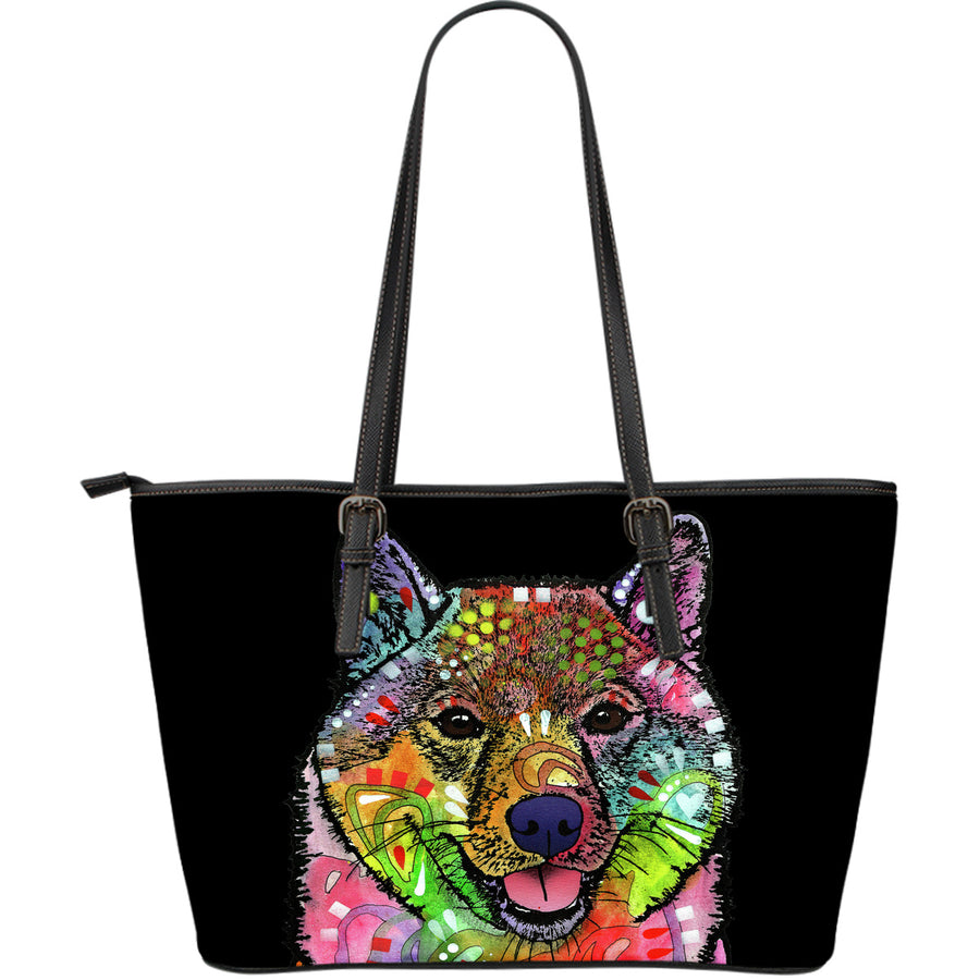 Shiba Inu Large Leather Tote Bag - Dean Russo Art - Jill 'n Jacks