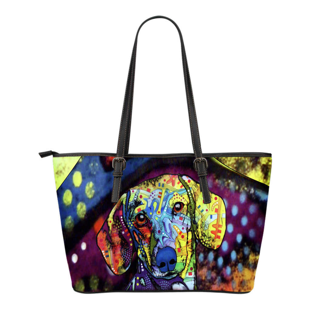Dachshund Small Leather Tote Bags - Dean Russo Art - Jill 'n Jacks
