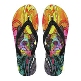 Boston Terrier Design Women's Flip Flops  - Dean Russo Art