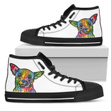Chihuahua Women's High Top Canvas Shoes - Dean Russo Art