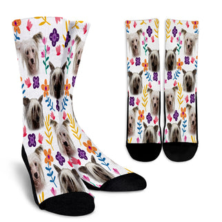 Chinese Crested Dog Floral Design Crew Socks - JillnJacks Exclusive - Jill 'n Jacks