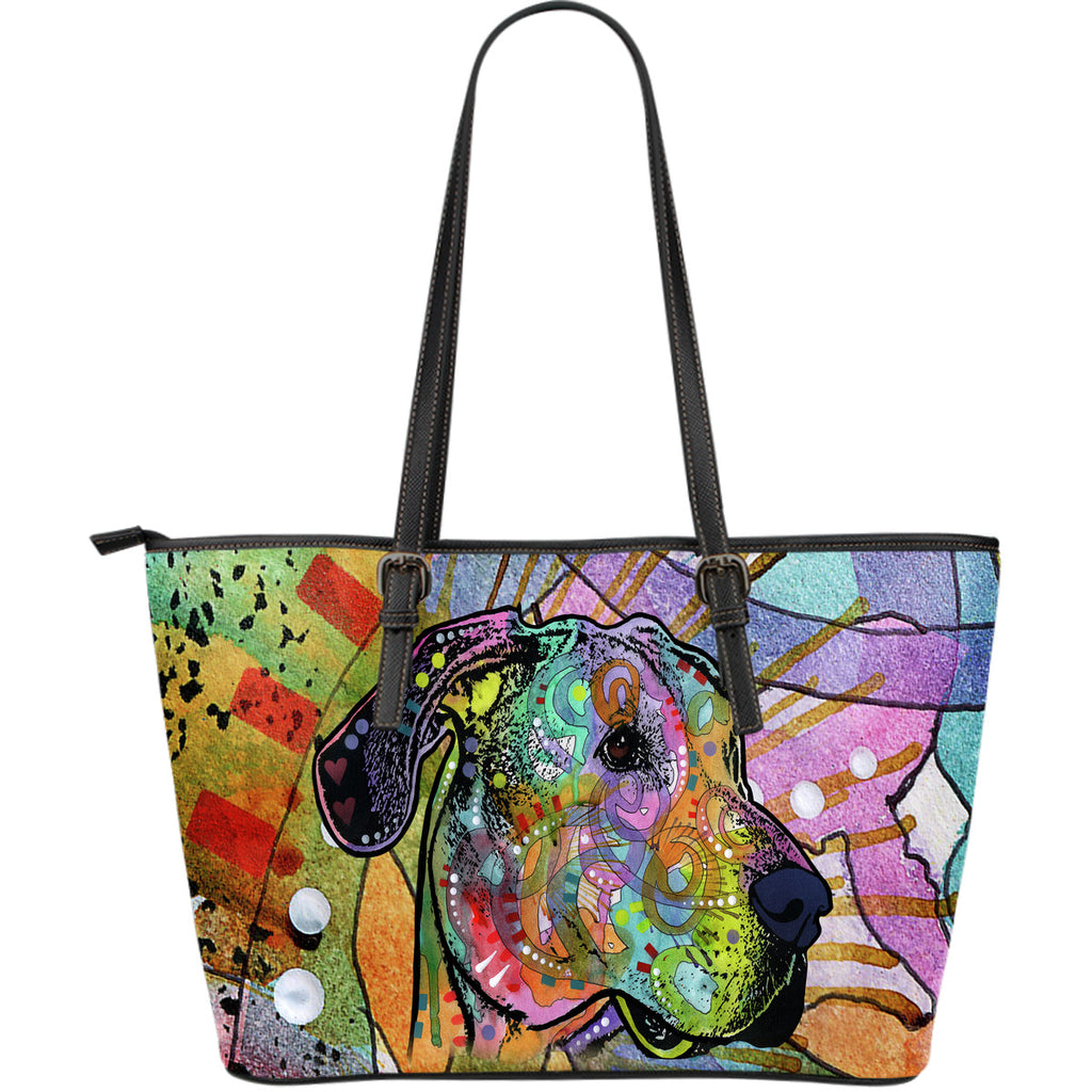 Great Dane Large Leather Tote Bag - Dean Russo Art - Jill 'n Jacks