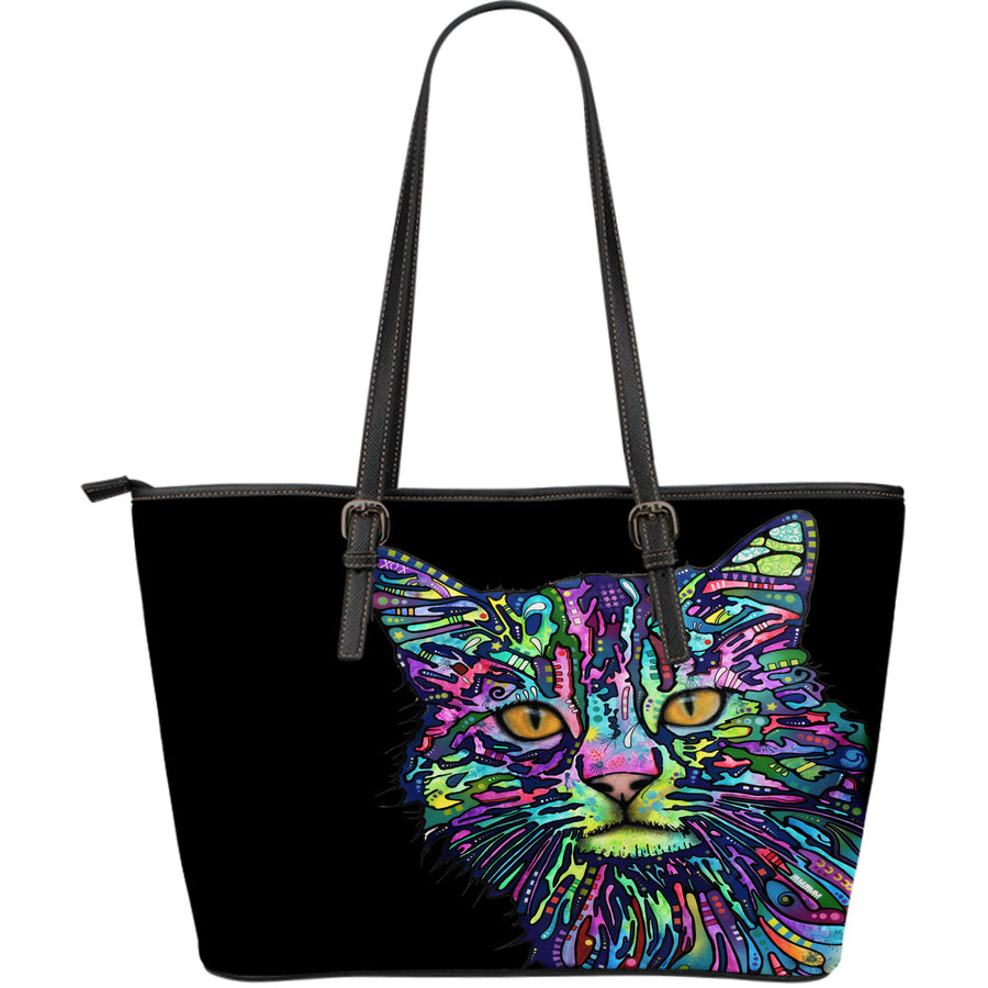 Cat Large Leather Tote Bag - Dean Russo Art - Jill 'n Jacks