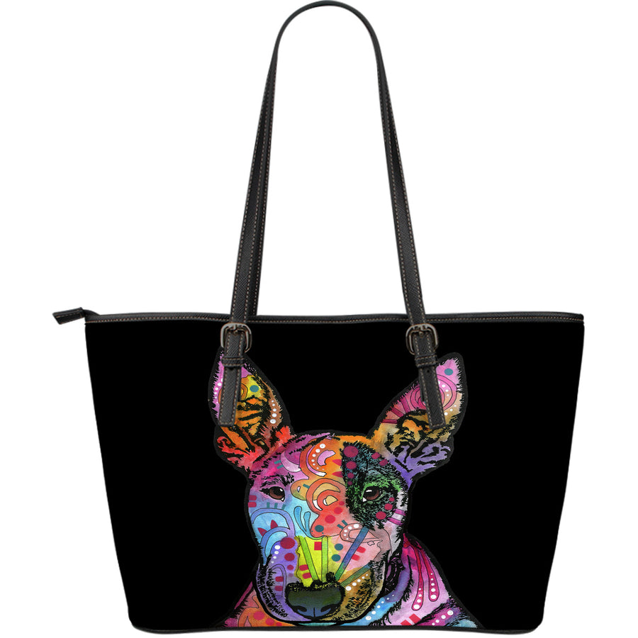 Bull Terrier Large Leather Tote Bag - Dean Russo Art - Jill 'n Jacks