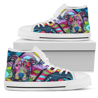 Pitbull Women's High Top Canvas Shoes - Dean Russo Art - Jill 'n Jacks