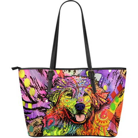 Great Pyrenees Large Leather Tote Bag - Dean Russo Art