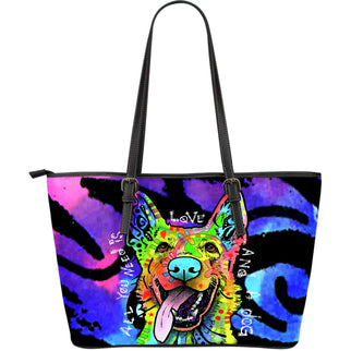 German Shepherd Large Leather Tote Bag - Dean Russo Art - Jill 'n Jacks