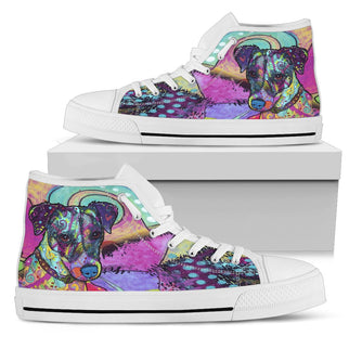 Jack Russell Terrier Women's High Top Canvas Shoes - Dean Russo Art
