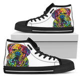 Bulldog Women's High Top Canvas Shoes - Dean Russo Art - Jill 'n Jacks