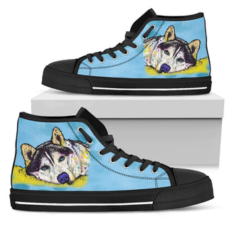 Husky Men's High Top Canvas Shoes - Dean Russo Art
