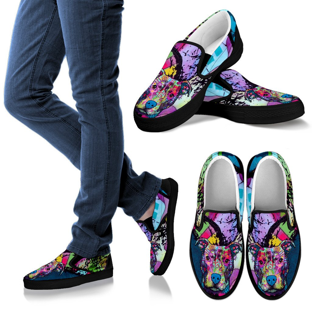 Pitbull Design Men's Slip Ons - Dean Russo Art