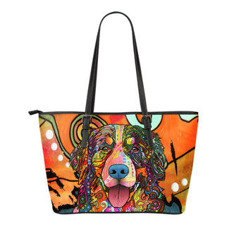 Bernese Mountain Small Leather Tote Bags - Dean Russo Art