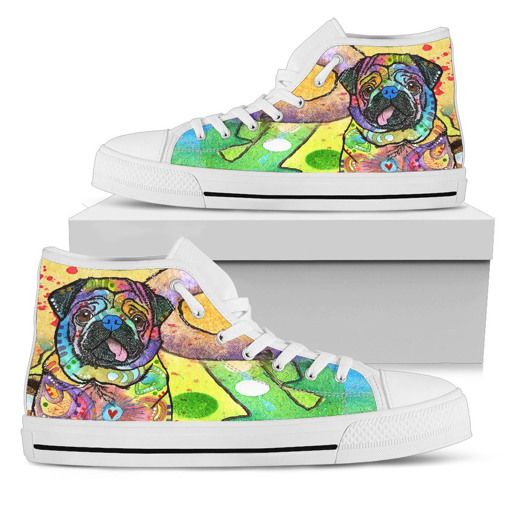 Pug Women's High Top Canvas Shoes - Dean Russo Art