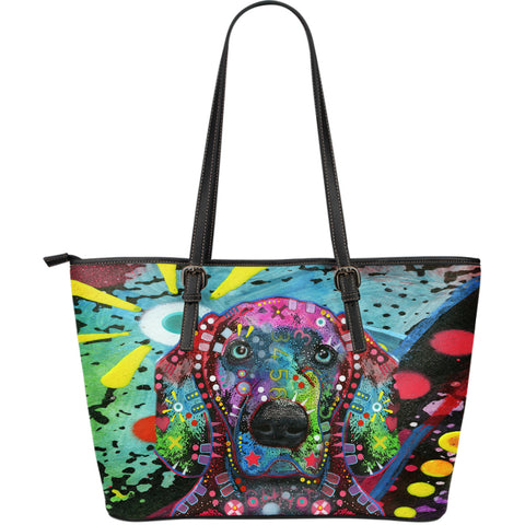 Weimaraner Large Leather Tote Bag - Dean Russo Art