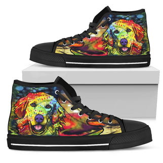 Golden Retriever Men's High Top Canvas Shoes - Dean Russo Art - Jill 'n Jacks