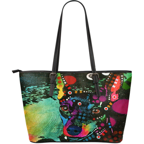 Miniature Pinscher Large Leather Tote Bag - Dean Russo Art