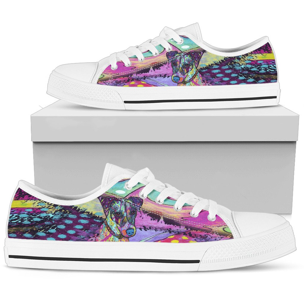 Jack Russell Terrier Women's Low Top Canvas Shoes - Dean Russo Art