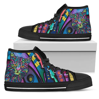 Cat Design Women's High Top Canvas Shoes - Dean Russo Art - Jill 'n Jacks