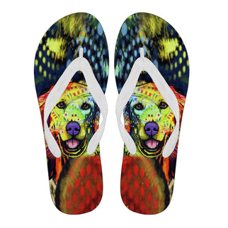 Golden Retriever Design Women's Flip Flops - Dean Russo Art - Jill 'n Jacks