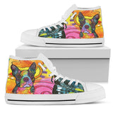 Boston Terrier Women's High Top Canvas Shoes - Dean Russo Art - Jill 'n Jacks