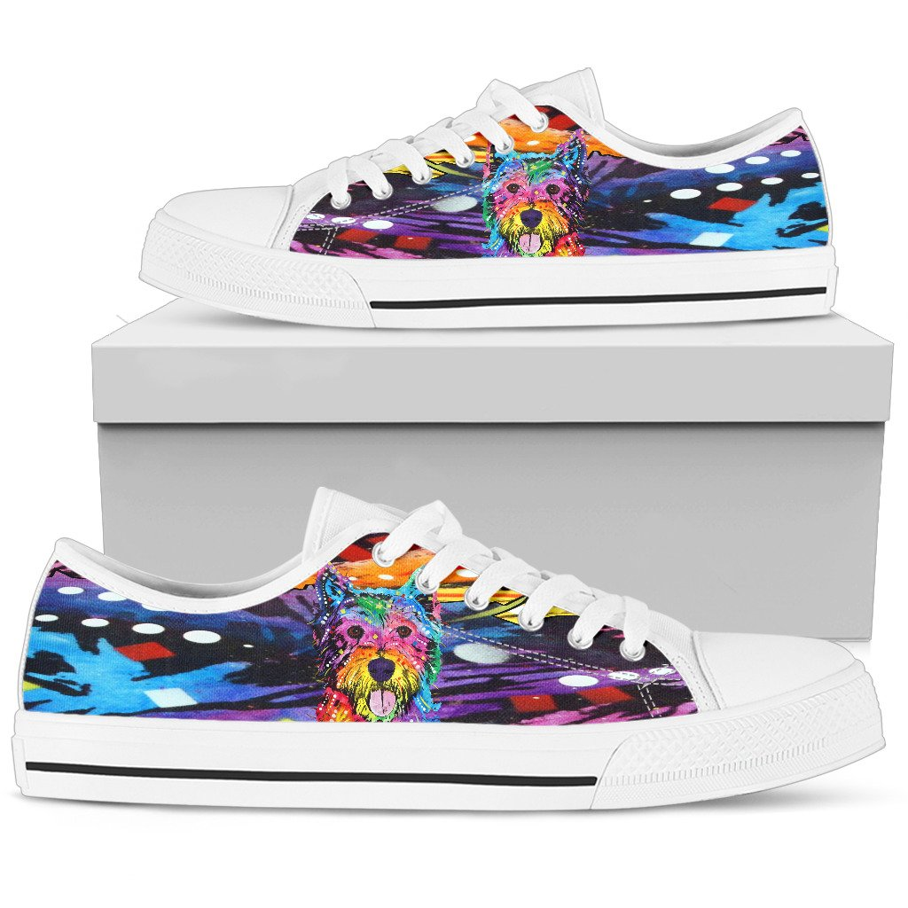 Westie Women's Low Top Canvas Shoes - Dean Russo Art