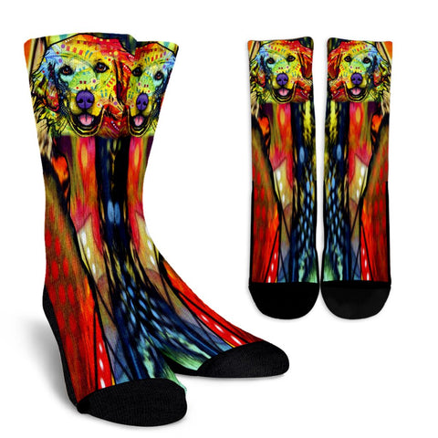Golden Retriever Design Crew Socks - Dean Russo Art
