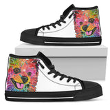 Pomeranian Women's High Top Canvas Shoes - Dean Russo Art