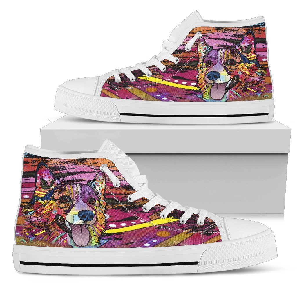 Corgi Women's High Top Canvas Shoes - Dean Russo Art
