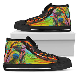 Mastiff Men's High Top Canvas Shoes - Dean Russo Art